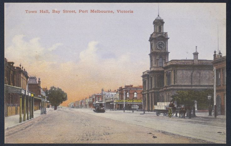 Town hall, Bay Street, Port Melbourne c1900-9, with cable tram. Photograph courtesy State Library Victoria.
