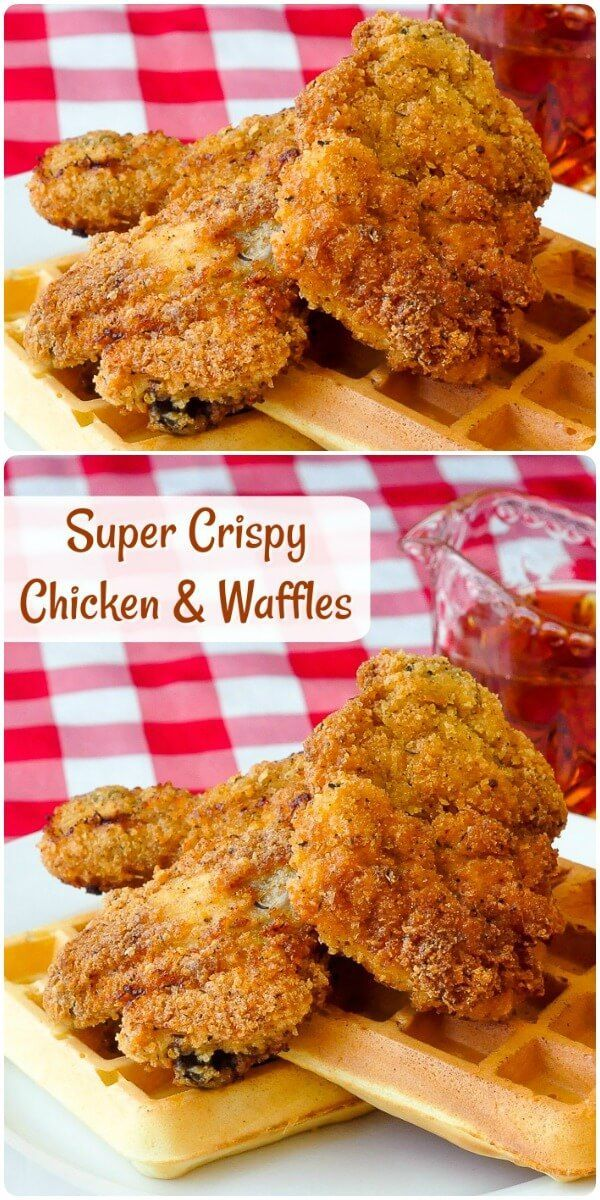 Extra Crispy Chicken and Waffles - this southern comfort food gets and extra crispy twist with the addition of panko crumbs to the perfectly seasoned crust.