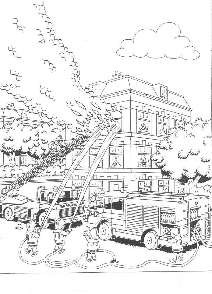 Kleurplaten » Brandweer Kleurplaten