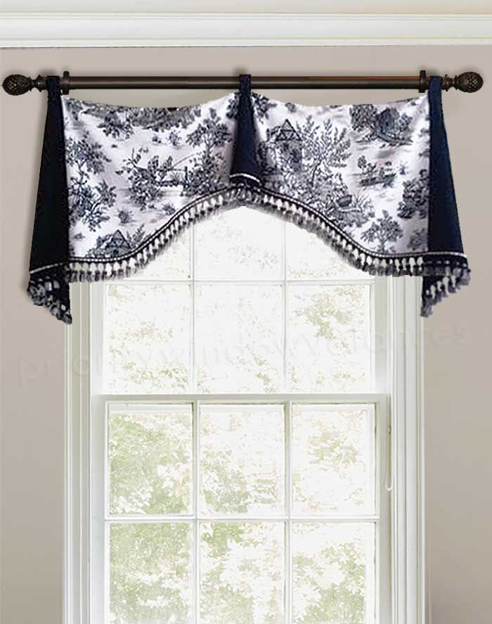 Black White Tab Top Valance Curtain Country Valances Country House Decor French Country Decorating