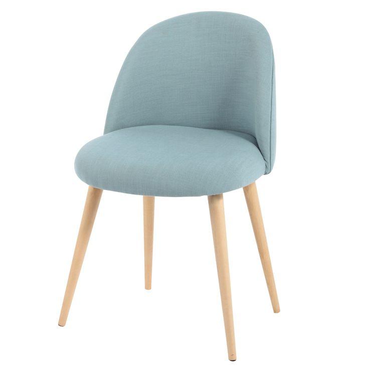 Chaise vintage en tissu et bouleau massif bleue Mauricette