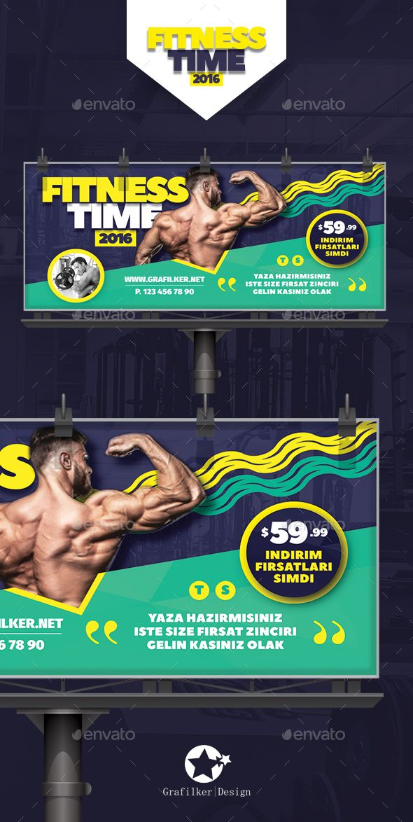 Fitness Time Billboard Template PSD, InDesign INDD. Download here: http://graphicriver.net/item/fitness-time-billboard-templates/16498428?ref=ksioks