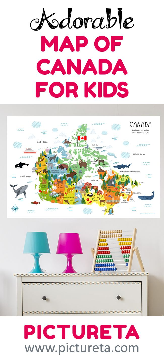 Map of Canada for Children Poster - Playroom Decor – Cute Canada map with animals, landmarks, provinces and territories, cities, and agriculture by Pictureta. Kids map of Canada, Canada map for kids, Map of Canada for kids. Teach geography of Canada for kids.