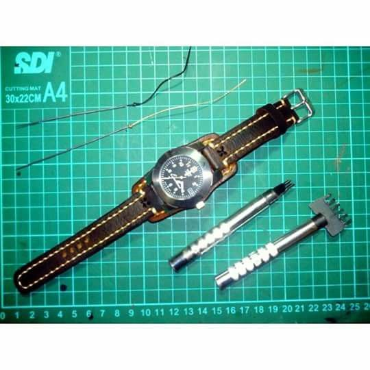 Swiss Army custom Leather strap