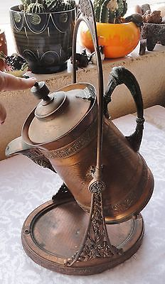Antique-Meriden-B-Company-Insulated-COPPER-Pitcher-On-Serving-Stand-1888