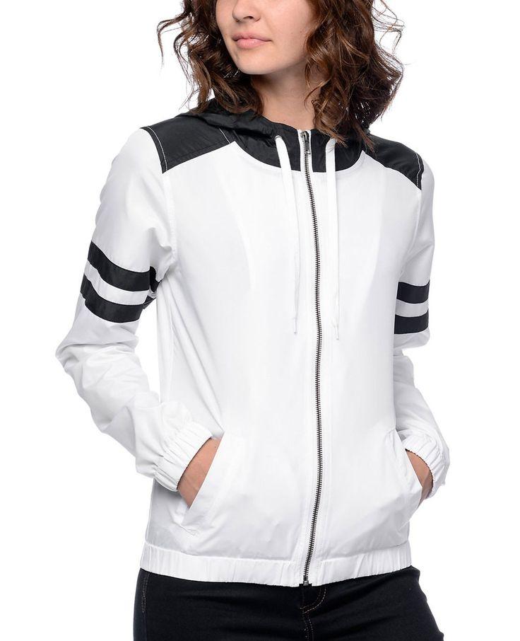 http://www.quickapparels.com/women-black-white-stripe-windbreaker-jacket.html