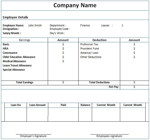Payslip Template For Ms Word Word Template