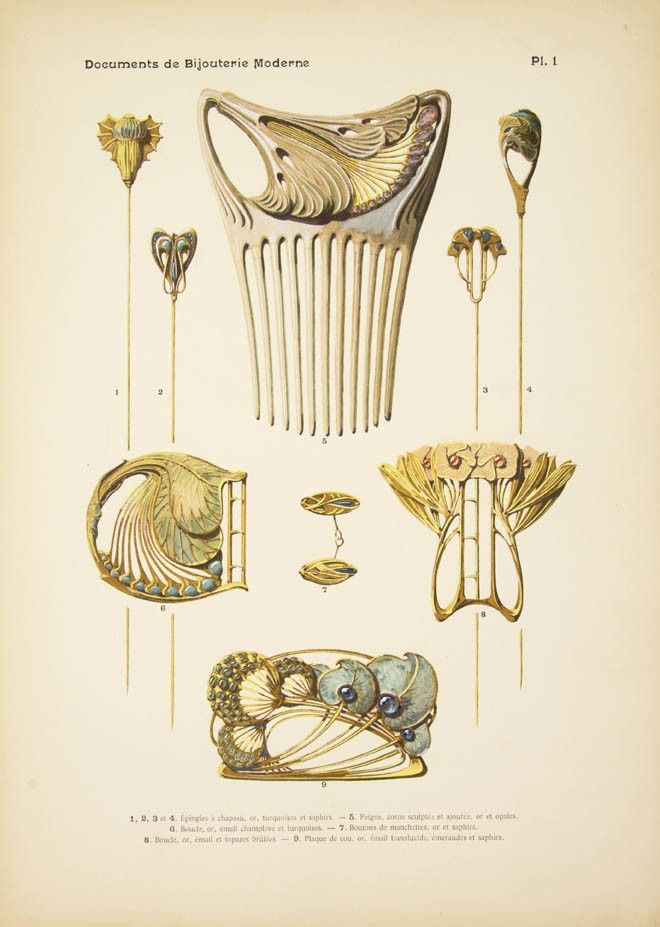 "PAUL FOLLOT, ""Documents de Bijouterie Moderne"", 24 page advertising folio. Current page showing Art Nouveau hatpins, decorative hair comb, buckles, cufflinks and a brooch in gold and silver."