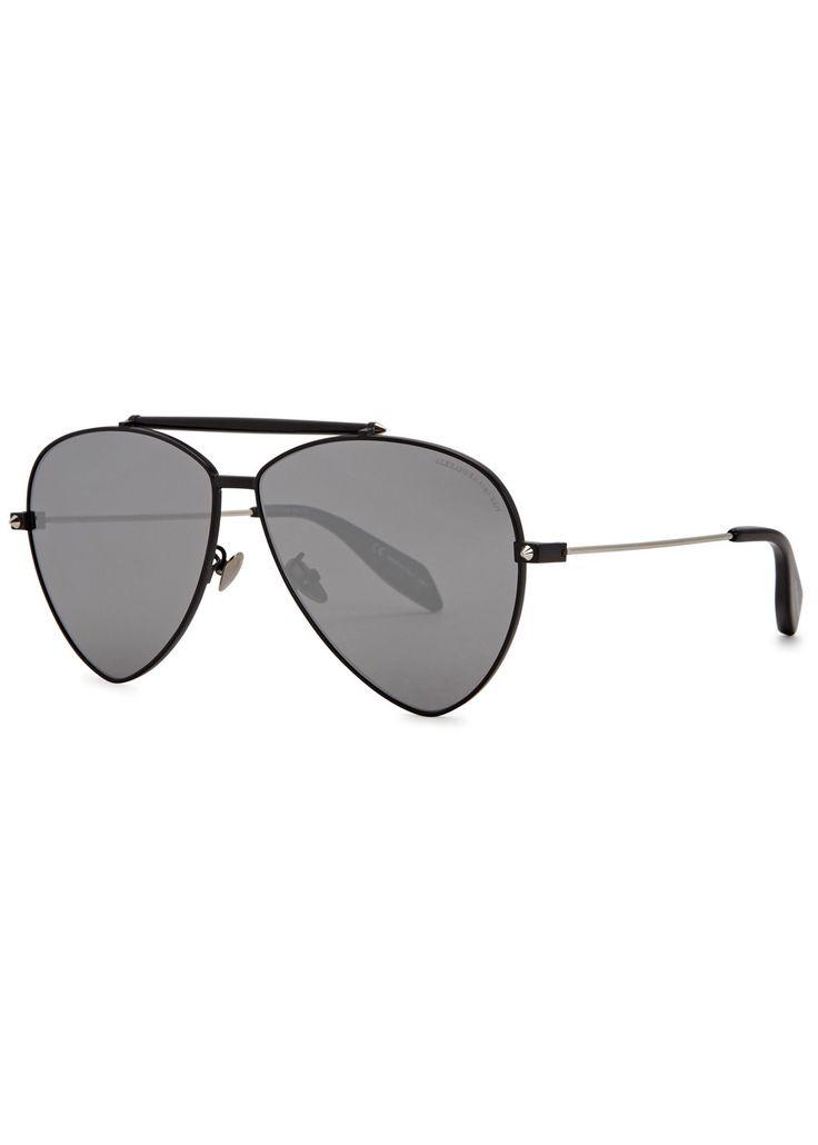 ALEXANDER MCQUEEN Black mirrored aviator-style sunglasses (SC175905) £276.00
