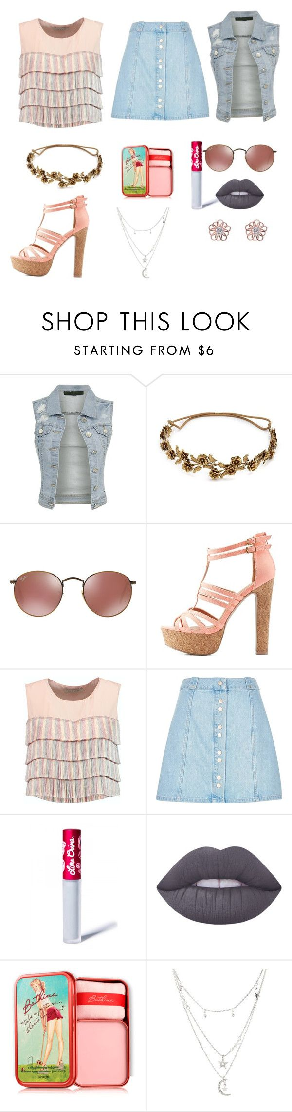 """""""Pink and blue"""" by maura-stacks ❤ liked on Polyvore featuring Jennifer Behr, Charlotte Russe, Alexis, River Island, Lime Crime, Benefit and kitsch island"""
