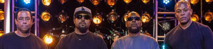 NWA hasn't performed on stage together in over a decade, but the groundbreaking rap group's surviving members did have a stage reunion of sorts on the set of their upcoming biopic, Straight Outta Compton.