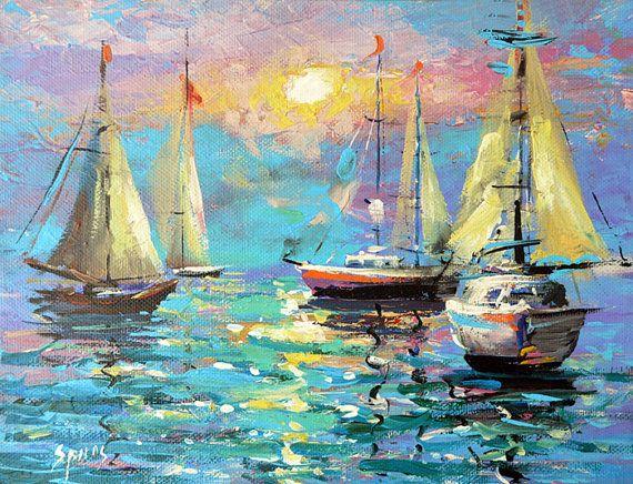 Zeilen - zee-olieverf op doek door Dmitry Spiros. Zee art. Zeedijk kunst…
