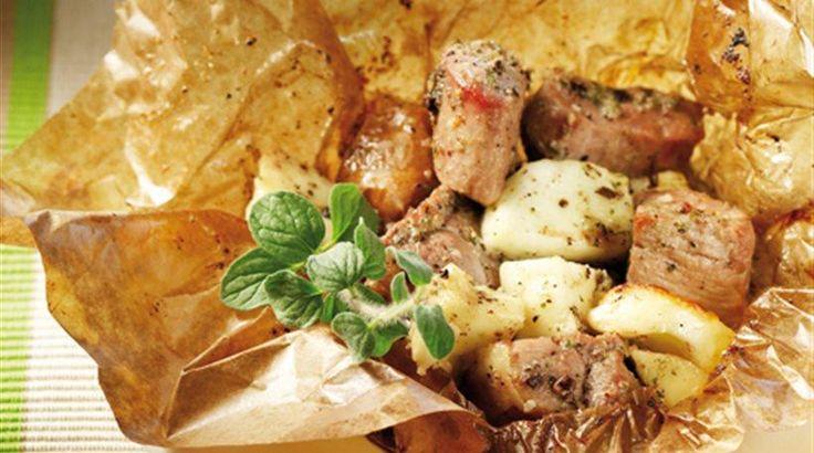 Χοιρινό+στη+λαδόκολα+με+μέλι+μουστάρδα+και+τυρί