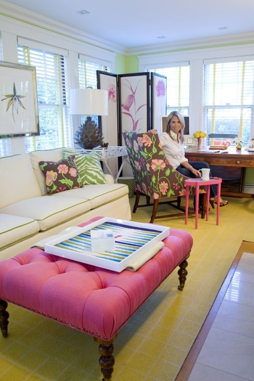 Love This Office Pink Brown Green White Yellow Decor