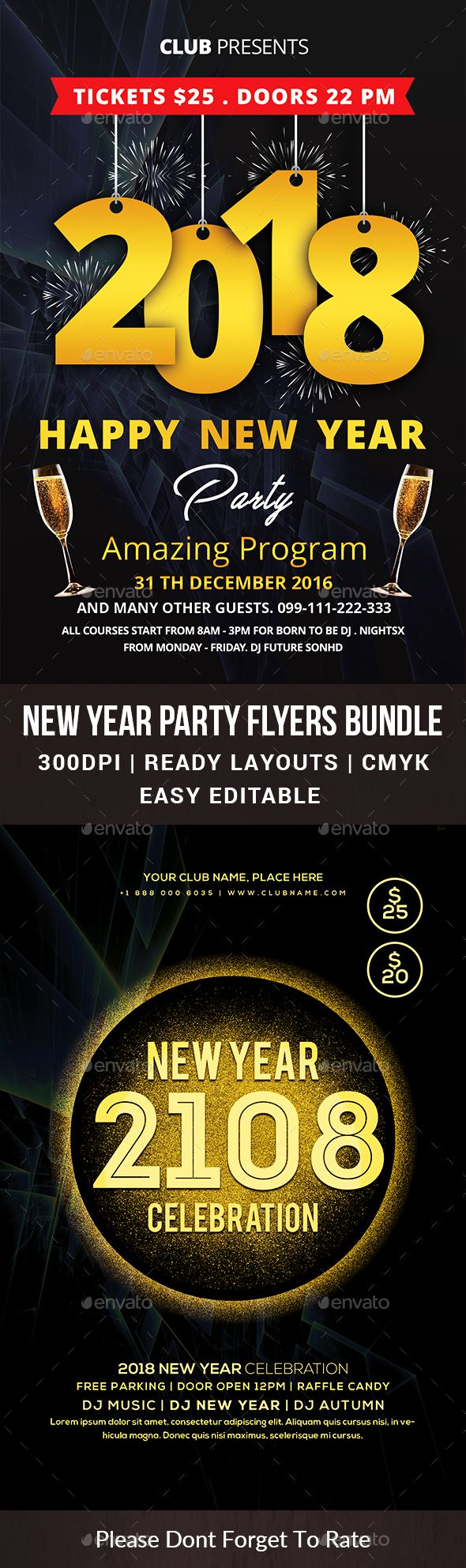 #New Year #Party #Flyers Bundle - Events Flyers