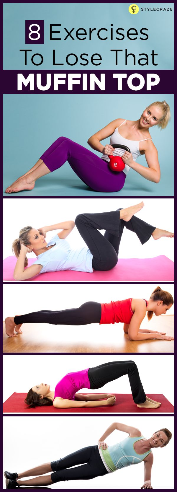 8 Best Exercises To Get Rid Of Muffin Top-Are you depressed noticing those muffin tops peeping out of your sexy low jeans or body-con sheaths? Then check out these exercises to get rid of muffin top and get a yummilicious waistline!