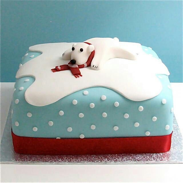 Decorating A Christmas Cake Part - 42: Polar Bear Christmas Cake By Gilly.
