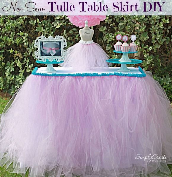 DIY No Sew Tulle Table Skirt! Super easy! All you need is Tulle Ribbon, Fabri-Tac, trim/ribbon and elastic.