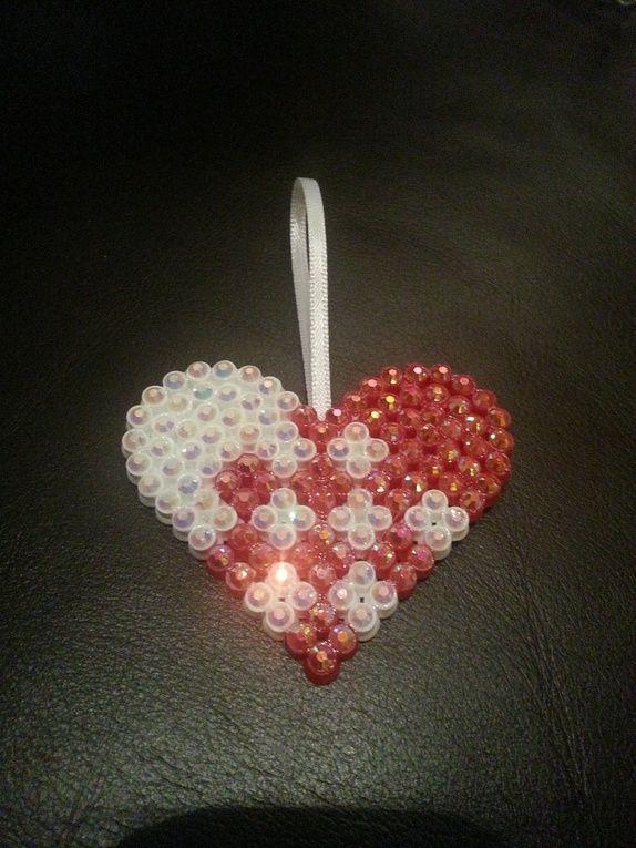 Homemade christmas heart hama pearls with rhinestones -. julehjerte  http://epla.no/shops/bollaboll/