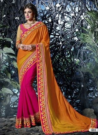 Orange With Pink Embroidery Patch Border Work Half N Half Saree#designer#sarees  http://www.angelnx.com/Sarees/Designer-Sarees