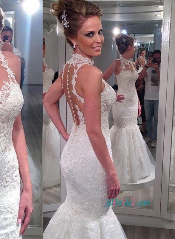 Popular H Sheer tulle back halter lace mermaid wedding dress