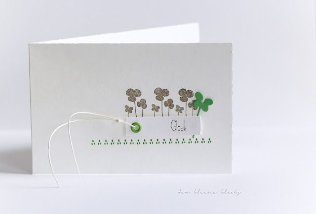 """der kleine klecks: Glück - ist gar nicht mal so selten! Stempelset """"Glück ist gar nicht mal so selten"""" von Charlie & Paulchen,  Stanzform """"Trio Klee"""" von Charlie & Paulchen,  Stempelset """"Verrückte Blumen"""" von Charlie & Paulchen,  Fedrigoni Cardstock naturweiß,  Cardstock grasgrün und Stempelkissen grasgrün von Stampin up!,  Stanze Washi Tape - Die-namics von My Favorite Thingsder kleine klecks"""