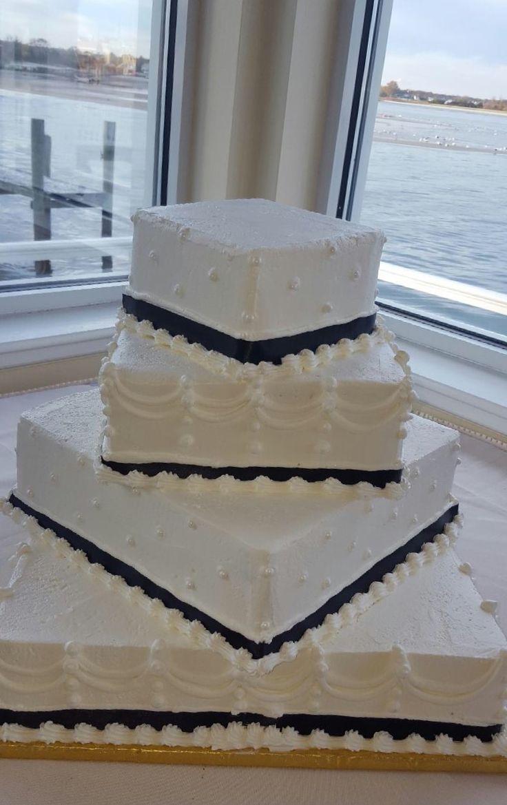 Offset Square Wedding Cake All white
