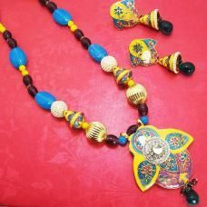 Meenakari Half Leaf Pendant Set Yellow Blues