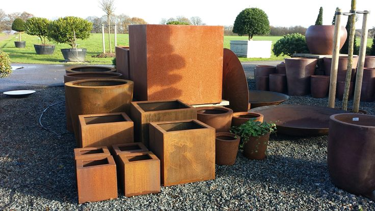 Great selection of Corten Steel and Ironstone pots at Architectural Plants