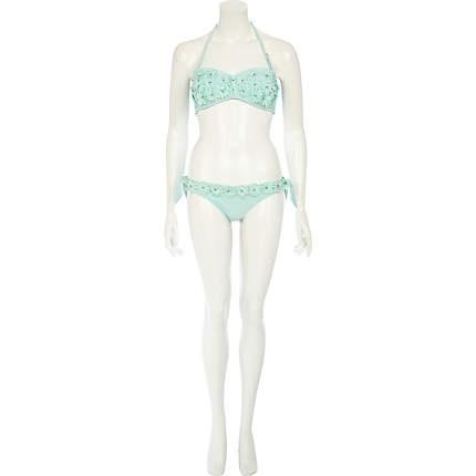 Mint green 3d flower bikini briefs - bikinis - swimwear / beachwear - women