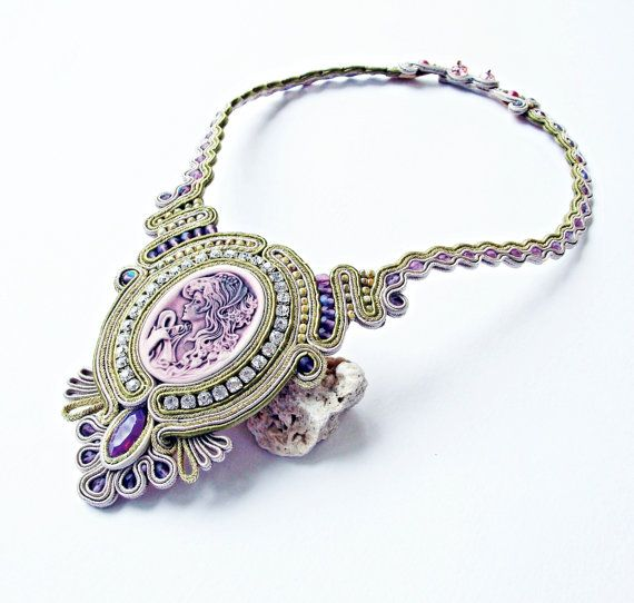 Soutache jewelry statement Soutache necklace. by Soutachebypanka