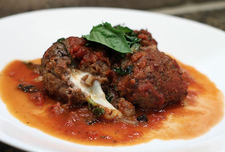 Mozzarella stuffed elk meatballs & red wine tomato sauce | Wild Game Recipes by NevadaFoodies | Elk Recipes, Antelope Recipes, Duck Recipes and more
