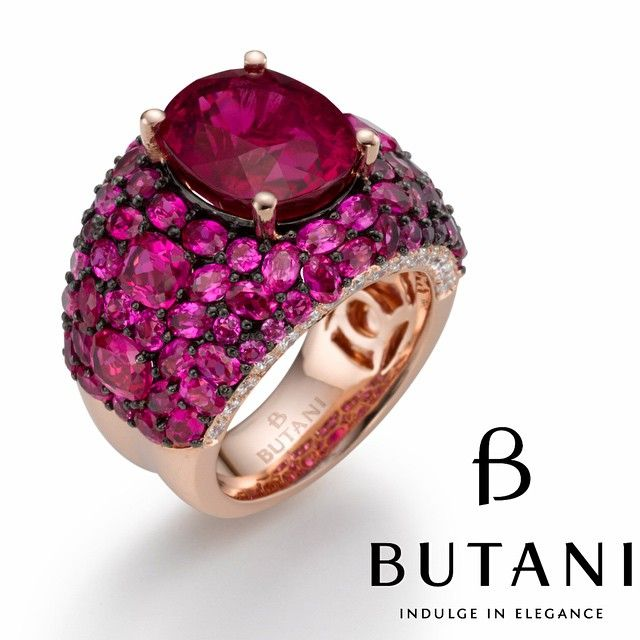 Attention grabbing ring in different shades of red set in Pink gold with Ruby, sapphires and diamonds #Butani