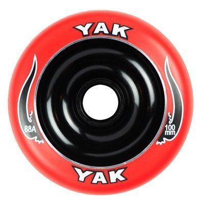 "YAK Scat II Metal Core Wheel Red/Black 100mm by Yak. Save 25 Off!. $14.91. The NEW Yak Scat II wheel is the hottest metal core scooter wheel on the market today! Completely redesigned to prevent ""de-hubbing"" the Scat is built to last. Delrin bearing cups are no longer needed to ensure proper bearing fitment. This makes the wheel not only stronger, but gives it a more solid feel. This wheel is designed for park use and smooth surface riding. Can be used front or rear. 30-Day Guarant..."