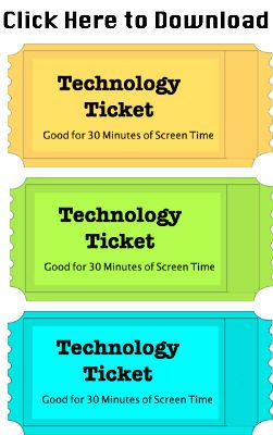 Creative way to limit your child's screen time with technology tickets. Free template download.