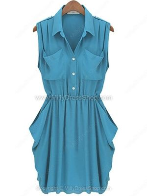 Lake Blue Sleeveless Twins Pockets Draped Side Chiffon Dress