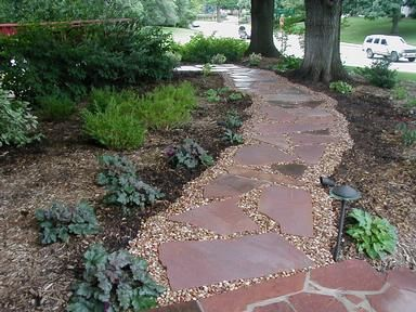 Flagstone Pathway With Pea Gravel Between Stones