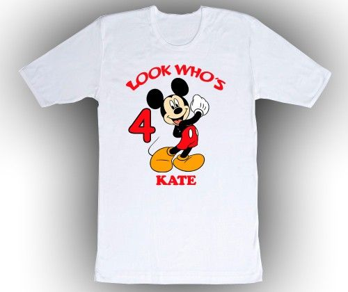 Mickey Mouse Personalized Birthday Shirt, Toddler 2T to Adult XXL Sizes