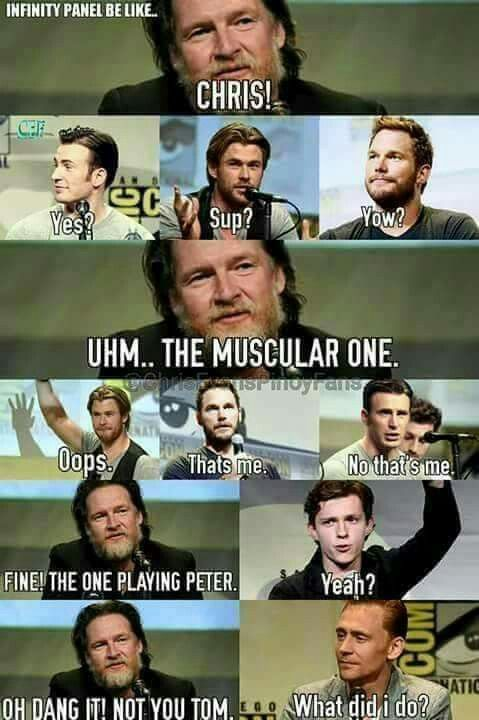 "I know that everyone talks about the Chrises, but can we talk about the Toms for a minute. Tom Holland and Tom Hiddleston are both British, are both named Tom and their initials are ""TH"". Funnier still is that I am a Hiddlestoner and one of my friends loves Tom Holland, so I guess you can say that we both have our ""Tommy H"" that is British."