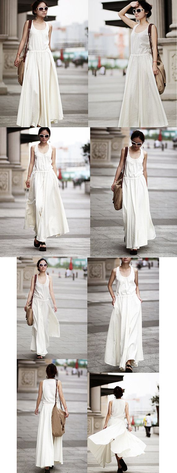 Long Maxi Dress Summer Dress in White Linen Bridemaid by clothnew, $65.99