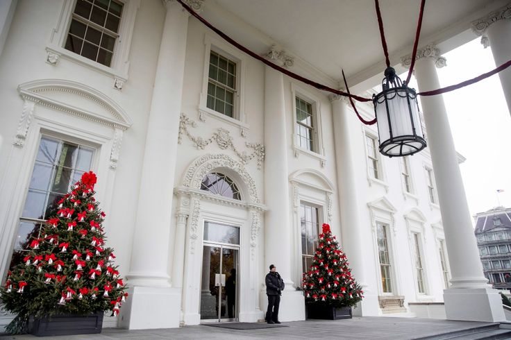 The North Portico of the White House is decorated during a preview of the 2016 holiday decor, Tuesday, Nov. 29, 2016, in Washington. (AP Photo/Andrew Harnik)