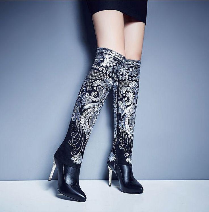 Women's Ethnic Trend Rhinestone Stilettos Zipper Pointy Toe Knee High Boots C955