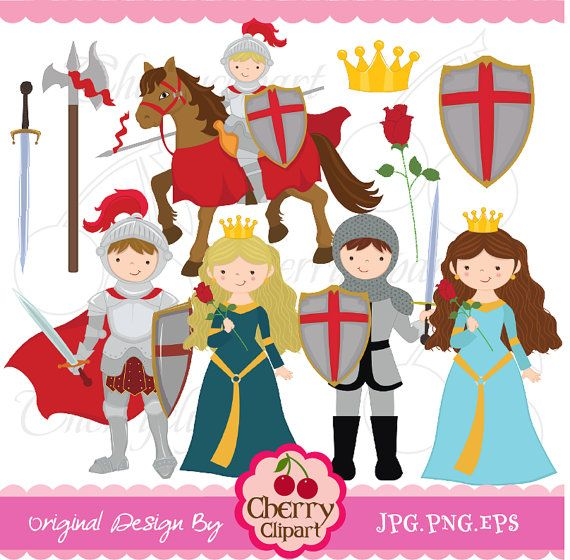 Little Knight and Princess digital clipart set by Cherryclipart, $5.00