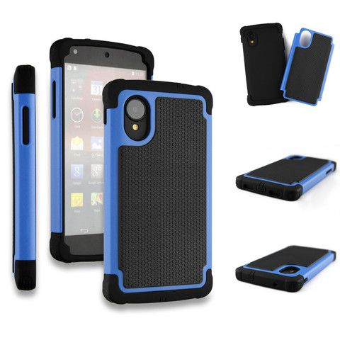 Triple Layer Defender Back Case for LG Google Nexus 5 in blue, red & black colors – Bracevor