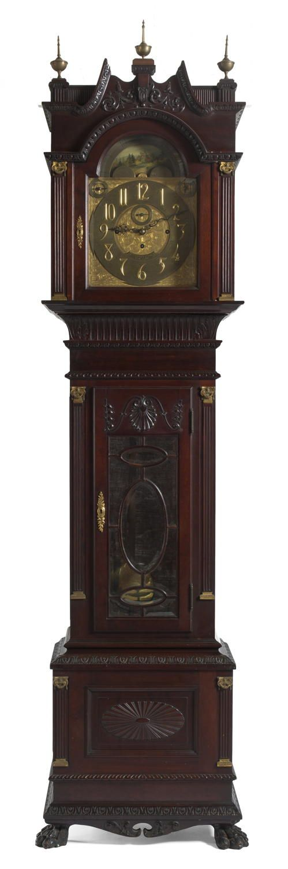TIFFANY & COMPANY RETAILED NINE-TUBE CARVED MAHOGANY GRANDFATHER CLOCK, WALTER H. DURFEE, MAKER. | Northeast Auctions