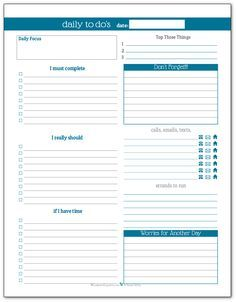 Кобальт - Ежедневный список дел планировщик для печати