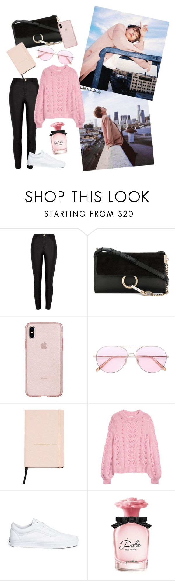 """""""Pastel Pink Dispatch"""" by call-me-shey ❤ liked on Polyvore featuring Chloé, Oliver Peoples, MANGO, Vans and Dolce&Gabbana"""