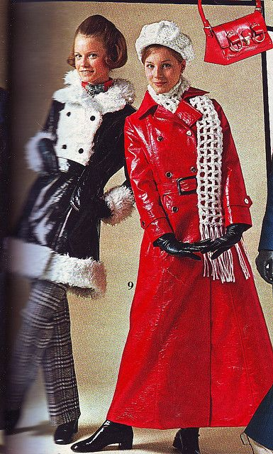 1970's crushed vinyl raincoat - I had a black one shorter than the red shown here. Got it at the Co-op when they were department stores.