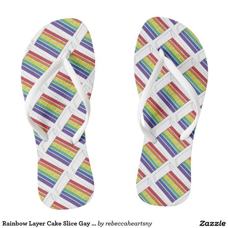 Rainbow Layer Cake Slice Gay Wedding Flip Flops
