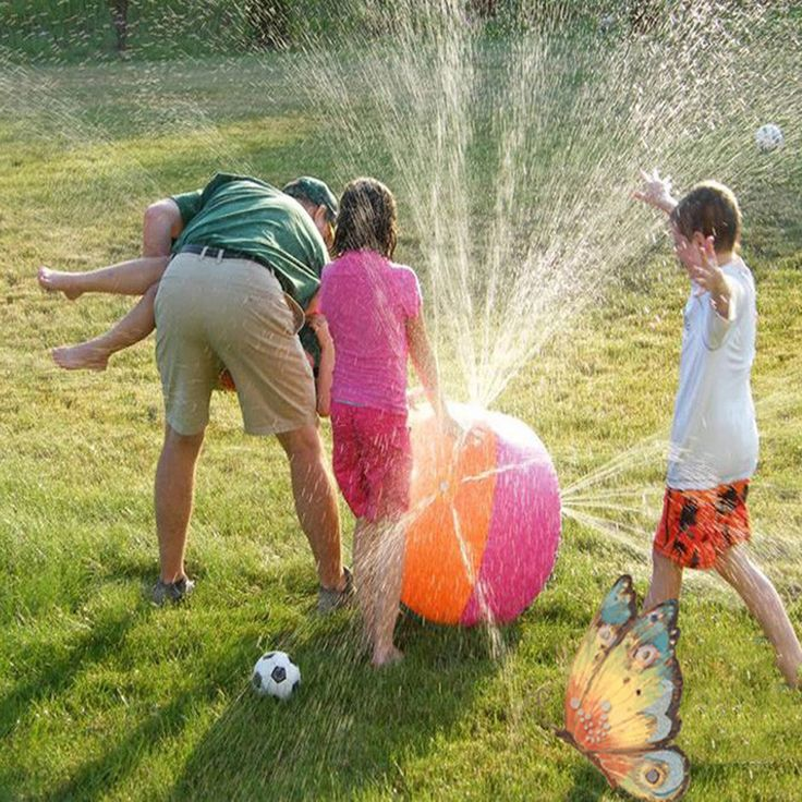 60cm Children Summer Inflatable Water Spray Environmental Balls Outdoor Sport Swimming Party Kids Playing Inflated Game Toy